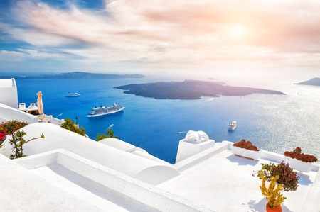 Beautiful sunset on Santorini island, Greece. Magnificent landscape with sea view