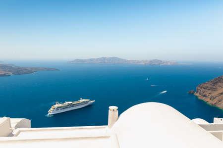 Photo for White architecture on Santorini island, Greece. Summer landscape, sea view. Famous travel destination - Royalty Free Image