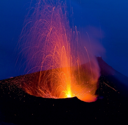 Volcanic eruption in Stromboli, Italy