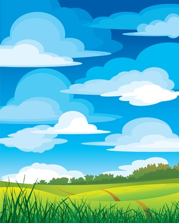 Group clouds on blue sky and green meadow with road