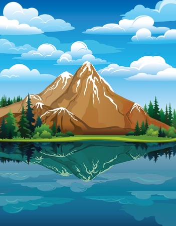 Foto de Vector landscape with snow mountains, green trees and blue lake on a cloudy sky background - Imagen libre de derechos