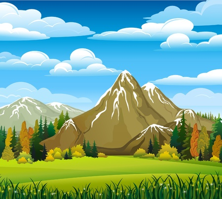Ilustración de Autumn landscape with meadow, forest and mountains on a cloudy sky background - Imagen libre de derechos