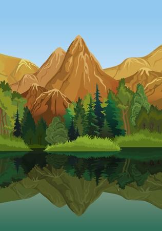Foto de Vector landscape with mountains, green trees and blue lake on a sky background - Imagen libre de derechos