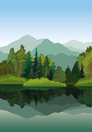 Vector landscape with mountains, green trees and blue lake on a sky background