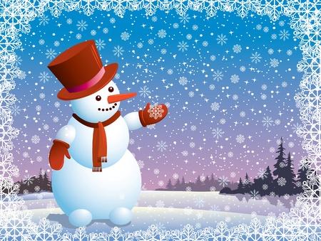 Cartoon happy snowman looking at the snowflake