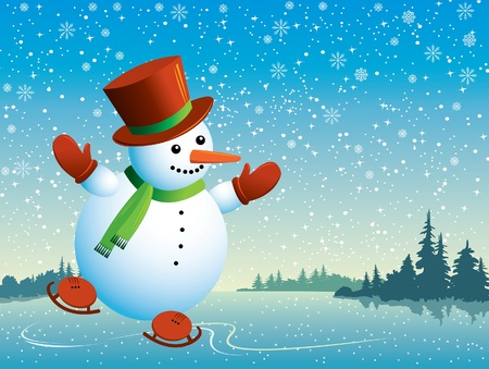 Cartoon happy snowman with skating