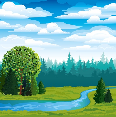 Illustration pour Vector landscape with green grass, forest and blue river on a sky background - image libre de droit