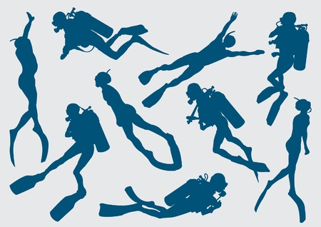 Set silhouette of diver and freediver