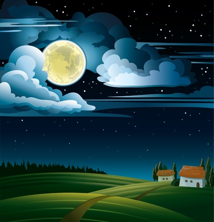Summer night with full moon and stars on a cloudy sky