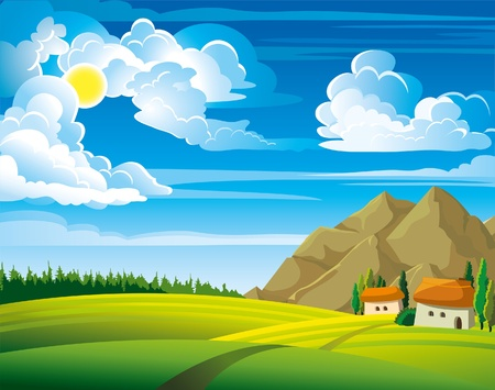 Illustration for Summer green landscape with trees and houses on a blue cloudy sky background - Royalty Free Image