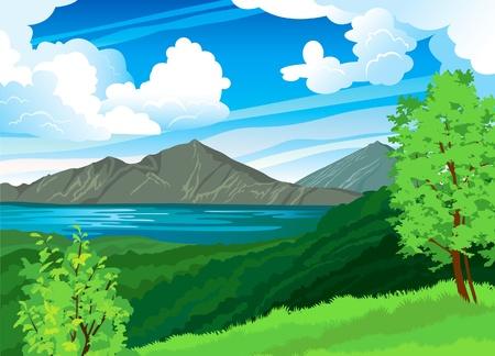 Ilustración de Summer landscape with volcano Batur, green forest and blue lake on a cloudy sky. Indonesia, Bali. - Imagen libre de derechos