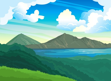 Summer landscape with mountains, green forest and blue lake on a cloudy sky