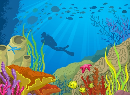 Colored coral reef and silhouette of diver on blue sea background