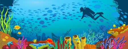 Colored coral reef with fish and silhouette of diver on blue sea background
