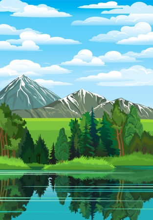 Illustration pour Summer landscape with green forest, river and mountains on a blue cloudy sky - image libre de droit