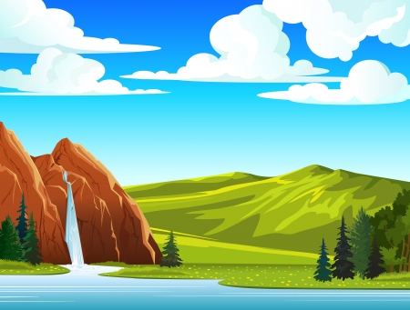 Illustration pour Summer green landscape with waterfall and hills on a blue cloudy sky - image libre de droit