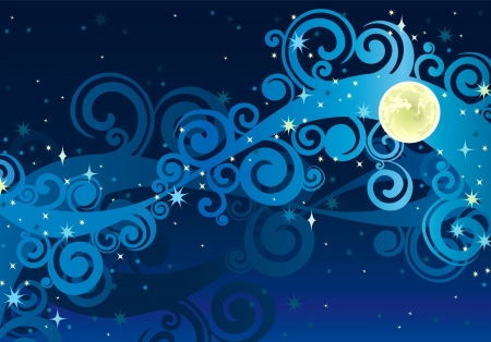 night blue sky with stars, yellow moon and milky way