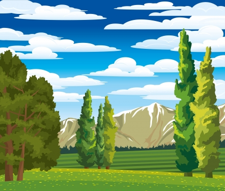 Foto de Summer green landscape with cypress, meadow and mountains on a blue cloudy sky - Imagen libre de derechos
