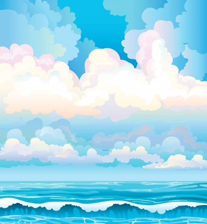 Group of clouds on a blue sky and turquoise sea with waves