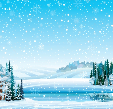 Illustration pour Vector winter landscape with frozen lake, forest, hill and snowfall - image libre de droit