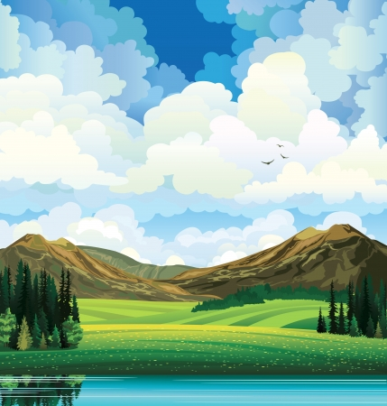 Illustration pour summer landscape with green flowering field, forest, mountains and lake on a blue cloudy sky backgound with birds. - image libre de droit