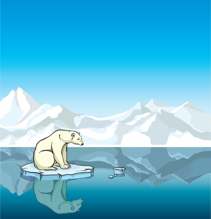 Polar bear sitting on a melting ice in a sea. Global warming.