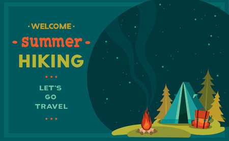Vector illustration with blue tent, backpack and campfire on a night starry sky. Summer hiking.