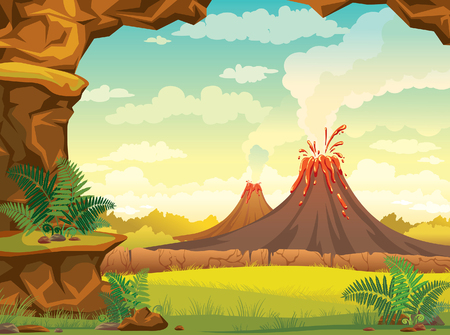 Vector natural illustration - prehistoric lanscape with cave, smoky volcanoes and green grass on a cloudy sky.
