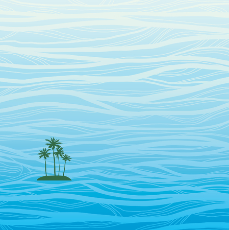 Lonely green small island with coconat palm in the big blue wavy ocean. Nature consept vector illustration.