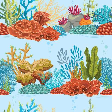 Seamless underwater pattern with coral reef and algaes. Natural vector colorful wallpaper.のイラスト素材
