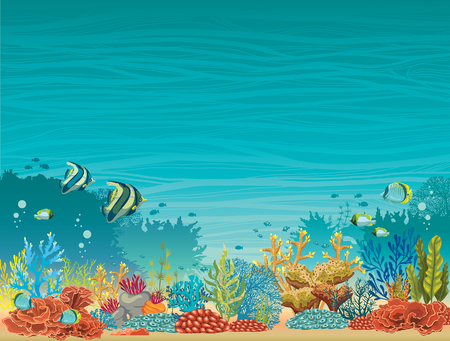 Underwater seascape - colorful coral reef with fish on a blue background. Natural tropical vector illustration.