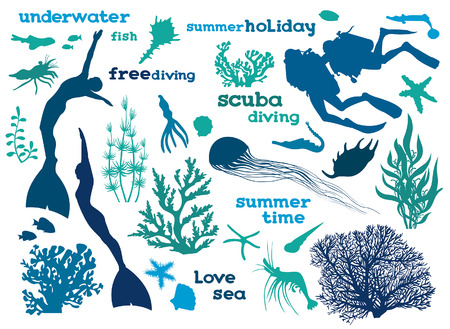 Vector illustration with silhouette of ocean elements on a white background.