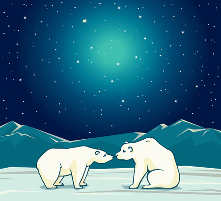 Two cartoon polar bears and night starry sky. Vector arctic nature illustration.
