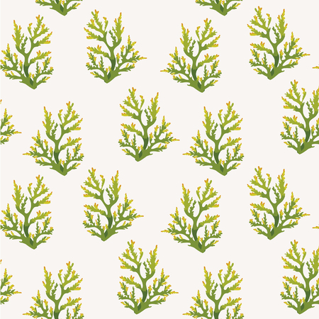 Illustration pour sea wallpaper - seamless pattern with green corals on a white background. - image libre de droit