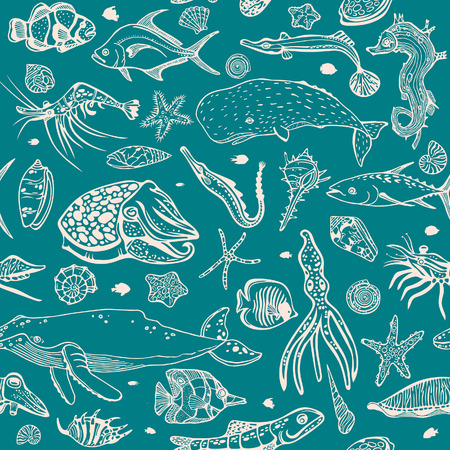 Vector wallpaper of sea animal - seashells, fish, whale, seahorse, tuna,