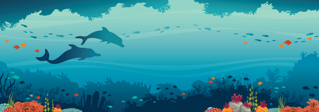 Silhouette of two dolphins, coral reef and school of fish on a blue sea background. Underwater cave and ocean creatures. Vector seascape.