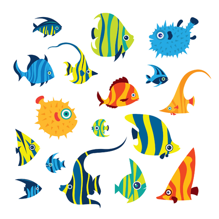 Collection of cartoon reef fish - angelfish, treegerfish, moorish idol, butterfly fish, balloon fish. Doodle vector illustration. Set of isolated tropical fish on a white background.