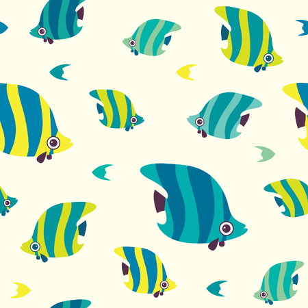 Cartoon seamless pattern with butterfly fish. Vector wallpeper with reef fish.