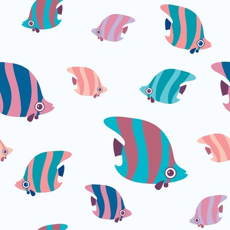 Seamless pattern with cartoon fish on a white background. Wallpaper with butterfly fish.