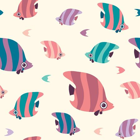 Vector seamless pattern with reef fish. Cartoon wallpaper with butterfly fish.