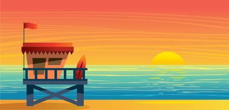 Illustration pour Summer nature landscape with lifeguard station, blue sea and sun on a sunset sky. Vecor illustration. - image libre de droit