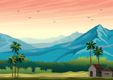 Illustration pour Tropical nature landscape with palm tree summer illustration. - image libre de droit