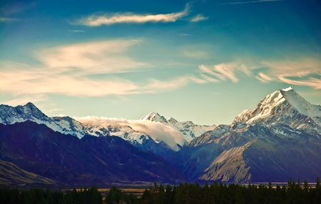 New Zealand scenic mountain landscape shot at Mount Cook National Park. の写真素材