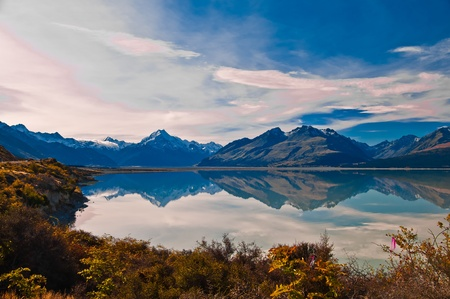 New Zealand. Mountain landscape including Aoraki Mt. Cook and Mt. Tasman of Southern Alps. S