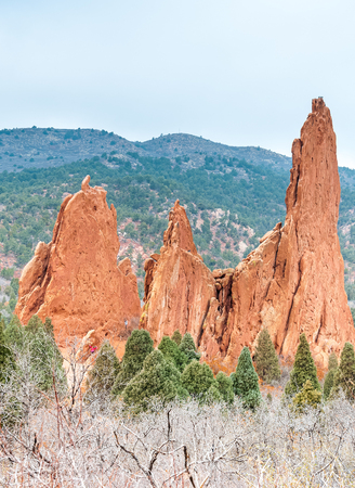 Beautiful red rock formations at Garden of the Gods is a public park located in Colorado Springs, Colorado, US. It was designated a National Natural Landmark