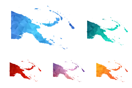 Variety color polygon map on white background of map of