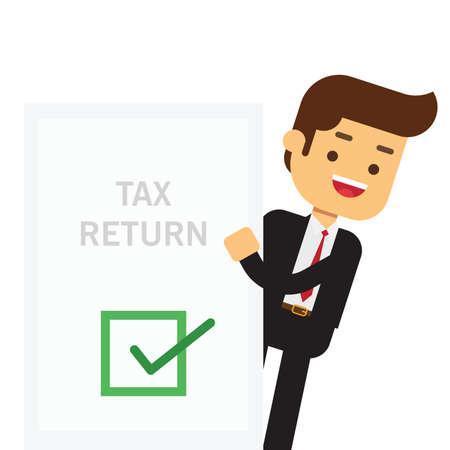 Illustration pour Businessman holds in his hand a tax declaration - image libre de droit