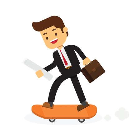 Illustration pour Businessman on skateboard with briefcase - image libre de droit