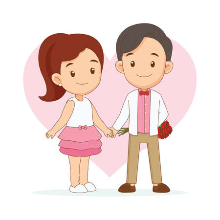 Illustration for Boyfriend giving rose flower to his girlfriend - Royalty Free Image