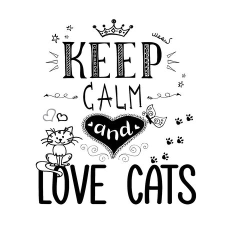 Funny pets and lettering- keep calm and love cats